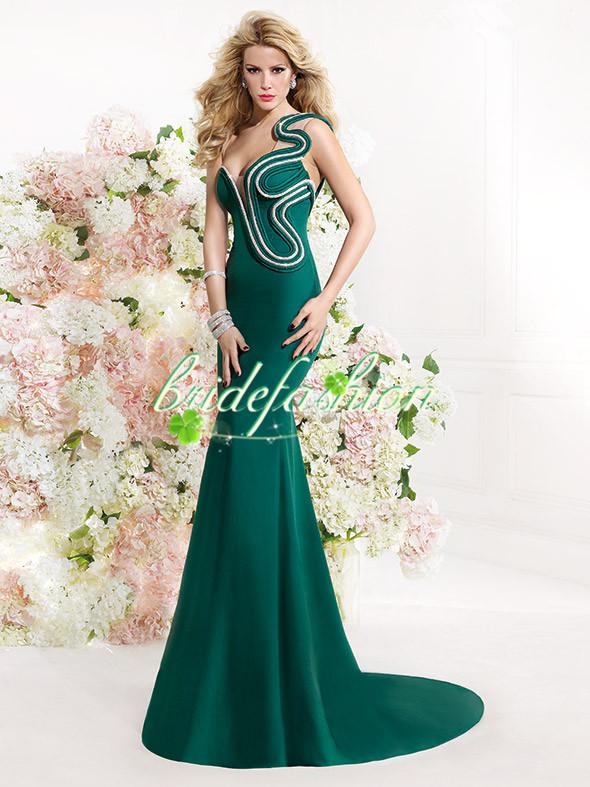 Custom made Mermaid Prom Dress tarik ediz 2014 Celebrity red carpet dress One shoulder Green Beads Sexy Evening Dresses