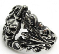 Wholesale Silver Sword Ring - Wholesale Lots Men's Light Silver Black Evil Death Sword Skull Cool Finger 316L Stainless Steel Ring PUNK Gothic