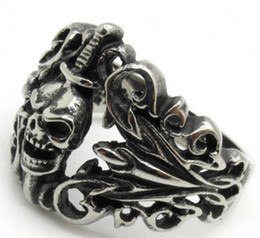 Wholesale Silver Sword Ring - Wholesale Lots Men's Light Silver Black Evil Death Sword Skull Cool Finger 316L Stainless Steel Ring PUNK Gothic