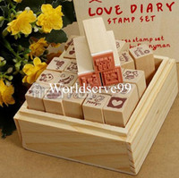 Wholesale Stamper Set Cartoon - Hot sale 25Pcs Set Wooden Rubber Stamp DIY Lovely Diary Pattern Card Cartoon Stamper With Box