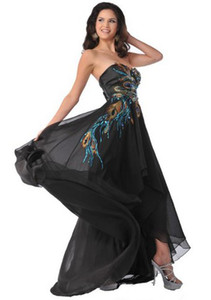 Wholesale Hot sale Elegant Dress Retro Sheath Sweetheart Hi-Lo Rhinestone Beaded Peacock Embroidery Chiffon Evening Dresses Formal Gowns Prom Gown