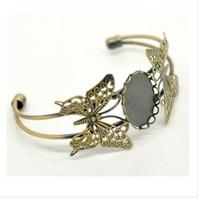ingrosso braccialetto della farfalla del merletto-18x25mm bronzo antico placcato rame ovale vassoio di pizzo farfalle basi in bianco braccialetto gioielli braccialetto impostazioni cammeo all'ingrosso