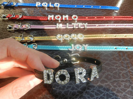 Wholesale Slide Personalize Dog Collars Wholesale - metallic color personalized leather DIY pet collars for cute small puppy dog+chihuahua request 8mm slide letter, you can mix colors