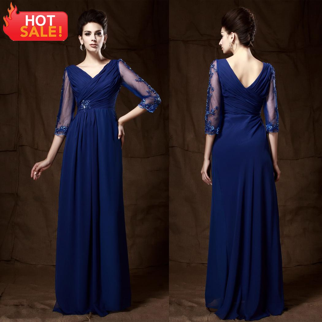 abf216150c0 2013 Elegant 3 4 Long Sleeve Evening Gowns Hot Selling V Neck Sheath Royal  Blue Chiffon Evening Dresses ED328 Quiz Evening Dresses Sale Evening Dresses  From ...