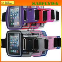 Wholesale Soft Pouch For Iphone 4s - 10 colors WaterProof Sport Gym Running Armband Protector Soft Pouch Case Cover For For Apple iphone 4 4s 5 5G 5C 5S