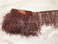 Wholesale Ostrich Feathers Yard - Wholesale ! Free Shipping-10 yards lot Brown Ostrich Feather Trimming Fringe on Satin Header 5-6inch in width for decoration