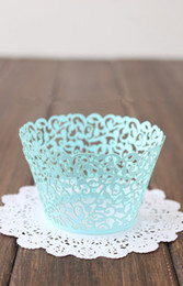 Wholesale Lace Cupcake Cases - Bright Blue Arabesque Lace baking paper muffin cupcake liners cases wrappers for wedding and festival party bulk 36pcs lot