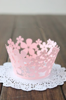 Wholesale Lace Cupcake Cases - Small Flower Pearlized Lace baking paper muffin cupcake liners cases wrappers for wedding and festival party bulk 36pcs lot