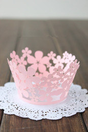 Wholesale Small Cupcake Cases - Small Flower Pearlized Lace baking paper muffin cupcake liners cases wrappers for wedding and festival party bulk 36pcs lot