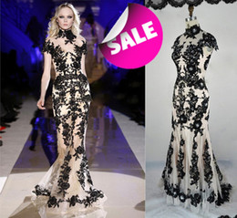 Wholesale Cheap Full Sleeve Evening Dresses - Free Shipping 2015 Zuhair Murad Nude Sexy Black Lace Tulle High Collar Short Sleeves Open back Full-Length Cheap mermaid Evening Dress XO010