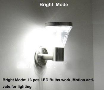 Solar Garden Wall lamp 13LED Super Bright+ Stainless Steel Water Proof+ Motion Sensor Solar Yard lights
