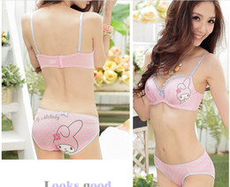 Wholesale Cute Little Underwear - Cute little chest thick section cat pink cotton girls underwear Bra Set