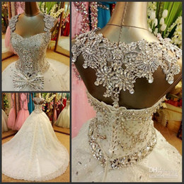Wholesale Detachable Train Bridal - Amazing 2016 Luxury Crystal Wedding Gowns Ball Gown Sweetheart White Princess Tulle Appliques Detachable Bow Beads Lace-up Bridal Gown
