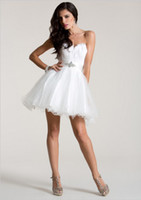 Wholesale Cute Feathered Mini Dresses - Cute White Feather Ruffled Organza Ball Gown Short Cocktail Dresses 2016 Sexy Sweetheart Beaded Belt Open Back Prom Party Gowns Custom Made