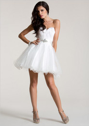 Wholesale Cute Summer Cocktail Dresses - Cute White Feather Ruffled Organza Ball Gown Short Cocktail Dresses 2016 Sexy Sweetheart Beaded Belt Open Back Prom Party Gowns Custom Made