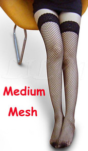 Free Ship 20 Pairs Medium Mesh Small Mesh Sexy Womens Sheer Lace Top Silicone Band Stay Up Thigh High Stockings Pantyhose lingerie