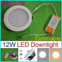 Dimmable 12W LED Panel se enciende SMD5730 Empotrado llevado Lámparas de techo AC 110-240V caliente Cool White + Power Supply techo Down Lights