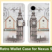 Wholesale Nexus Retro - Wholesale Retro Big Ben Statue of Liberty Eiffel Tower PU Leather Wallet Flip Cover Case for LG Nexus 5 E980 Free Shipping
