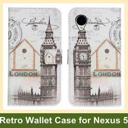 Wholesale Nexus Retro Case - Wholesale Retro Big Ben Statue of Liberty Eiffel Tower PU Leather Wallet Flip Cover Case for LG Nexus 5 E980 Free Shipping