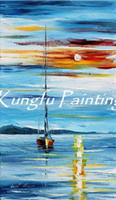 Wholesale Texture Palette Knife Painting - 100% hand paint modern palette knife seascape oil painting-xsea106 knife texture painting new