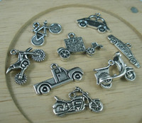 Wholesale silver motorcycle charms resale online - Hot Antiqued Silver Zinc Alloy Mixed Motorcycle Car Bike Charm European Beads Fit European Bracelet DIY Jewelry