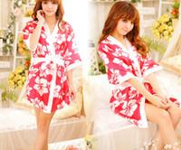 Wholesale Women Lingerie Nighty Sleepwear Underwear - Sexy women lady silk sleepwear underwear lingerie uniform role play kimono cosplay pajamas nighty night-robe bathrobe with belt