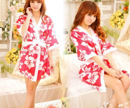 Wholesale Free Role Playing - Sexy women lady silk sleepwear underwear lingerie uniform role play kimono cosplay pajamas nighty night-robe bathrobe with belt