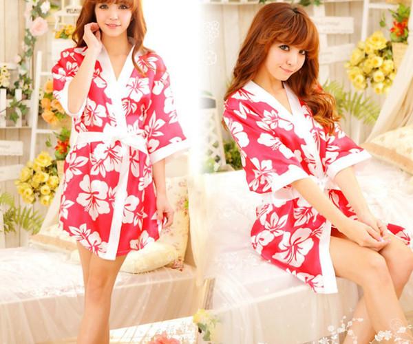 Sexy women lady silk sleepwear underwear lingerie uniform role play kimono cosplay pajamas nighty night-robe bathrobe with belt