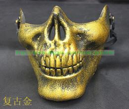 Discount skull warrior mask half face - Men's Hallowmas Venetian mask masquerade Skeleton warriors 3 generations masks with Half face terrorist CS army fan