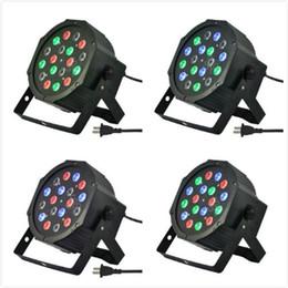 Wholesale Dmx Channel Rgb - 4pcs 18*3W Wonderful Par LED RGB Magic Effect light DMX512 Disco DJ Stage Lighting Party Light AC110V-240V 7 Channels Led Stage Par Light