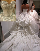 Wholesale 2014 Crystal Wedding Dresses Luxurious Sexy Sweetheart Beads Pleats Satin Cathedral Train Christmas Ball Gown Dress Bridal Gowns BO3110