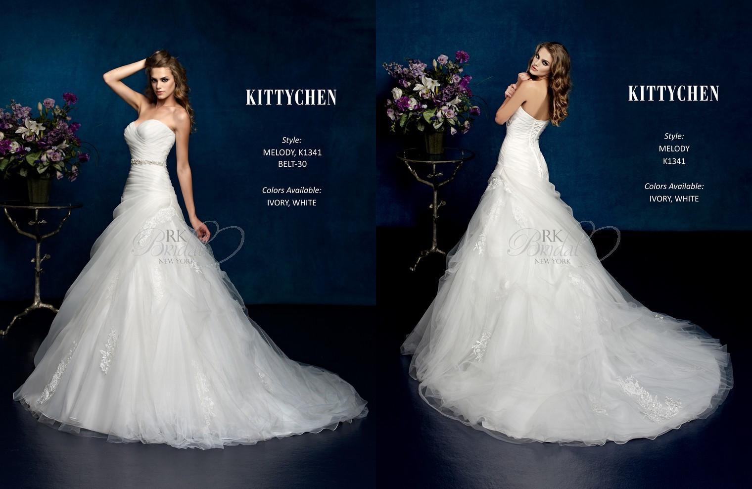 Discount Kitty Chen 2014 K1341 Tulle And Lace Appliques