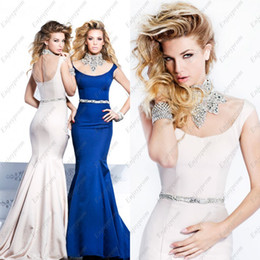 Wholesale Dress Tarik Ediz - 2014 New Hot Tarik Ediz Prom Dress, Blue Stretch Satin High Neck Dazzling Beaded Rhinestones and Sequins Mermaid Exquisite Formal Dresses