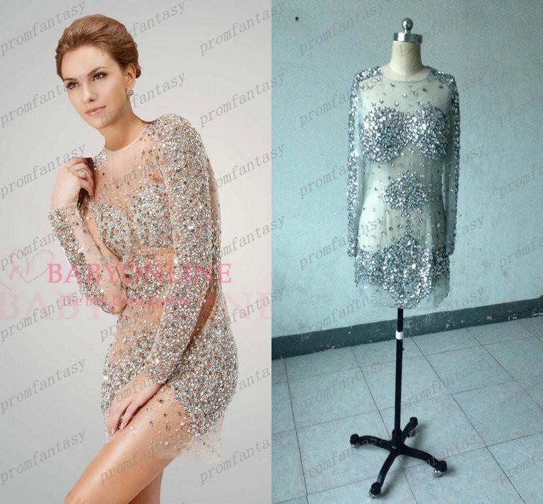 2016 New Mini Evening Gowns Jov7757 Sexy Nude Beaded Crystals Long Sleeve  Real Short Cocktail Dresses Sheer See Through Prom Dresses Formal Evening  Dresses ... c2ed775c55b7