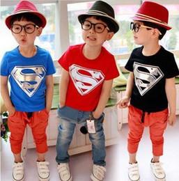 Wholesale Boys Short Sleeve Superman Top - Free Shipping! 2015 Children Summer Leisure Clothing Boy Baby Superman Short Sleeve T Shirt Kids Tops Tees 5pcs Lot