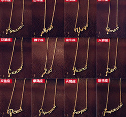 Wholesale Korean Fashion Wholesale Free Shipping - On Sale Fashion Jewelry 12 Zodiac Signs Letter Pendants Necklace Korean Women Ladies Chokers Sweater Chain Mix Wholesale free shipping