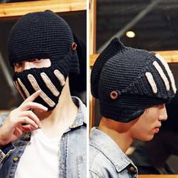 Wholesale Knit Mask - S5Q Fashion Unisex Crochet Knit Beanie Ski Roman Knight Hat Gladiator Mask Wool Cap AAACUV