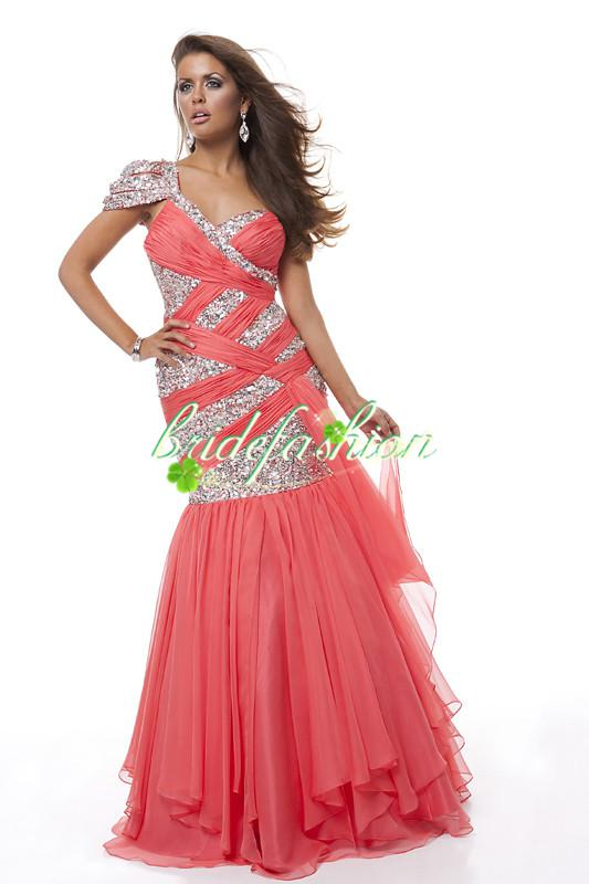 2014 Peach Fall Formal Evening Dresses Sexy One shoulder Crystal Applique Tulle Vintage Custom Made Mermaid Prom Gown