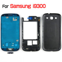 Wholesale Original S3 Covers - For Galaxy SIII S3 I9300 Original Full Housing Front Housing + Middle Frame Housing + Battery Back Cover + 4 Buttons MOQ50 PCS