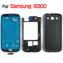 Wholesale Galaxy S3 Back Frame - For Galaxy SIII S3 I9300 Original Full Housing Front Housing + Middle Frame Housing + Battery Back Cover + 4 Buttons MOQ50 PCS