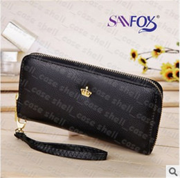 Wholesale Crown Smart Pouch Wallet Case - Envelope wallet handbag PU Leather Crown Smart Pouch Cover Case Clutch Bags Gandbag for iphone se 6 6s plus Samsung Galaxy s5 s6 s7 edge