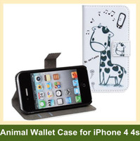 Wholesale Iphone 4s Cute Wallet - Wholesale Cute Animal Wallet Case for iPhone 4 4s PU Leather Giraffe Owl Print Flip Cover Case for iPhone 4 4s Free Shipping