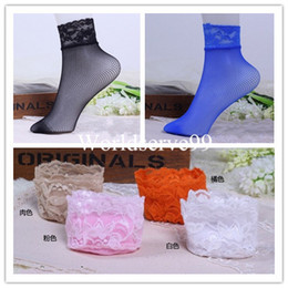 Wholesale Lace Hosiery Wholesale - Fashion Women Small Fishnet Socks Lace Net Ankle Short Socks Sexy Various Hosiery Princess Gift 10Colors