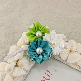Wholesale Thin Silk Baby - New colorful Triple satin ribbon flower headbands DIY layered flower with Pearl on thin elastic Headband 20pcs Baby headwear