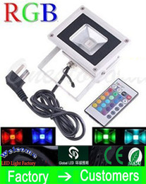 Wholesale Outdoor Plug Flood Light - 100W outdoor RGB LED Floodlight 10W Wiht Plug 30W 50W 20W Lamp Waterproof IP66 Flood Lights With Remote Control AC 110-240V Real high power