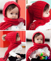Wholesale Hat Scarf Conjoined Sets - NEW children hat + scarf conjoined sets baby cap, kids hats,(6 colors) 10pcs lot