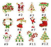 Wholesale Pin Brooch Jewelry - Xmas Gift Brooches All Match Jewelry Pin Brooch 12 Colors Christmas Style