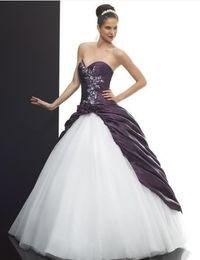 Wholesale Taffeta Floor Length Skirts - Elegant Sweetheart White tulle Purple Taffeta Ball Gown Wedding Dresses White applique Beads Purple Flowers Pick Up Skirt Lace Up back