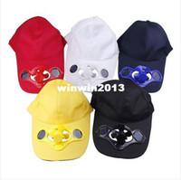 Wholesale Solar Camping Fans - Outdoor Summer Sport Sun Hat Cap with Solar Power Fan Cap Golf Baseball Camping