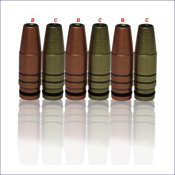 Fashion design più economico bronzo bullet drip tip bocchino di proiettile ramato argentato metallo drip tips ego-t ego-c ego-vv sigaretta elettronica